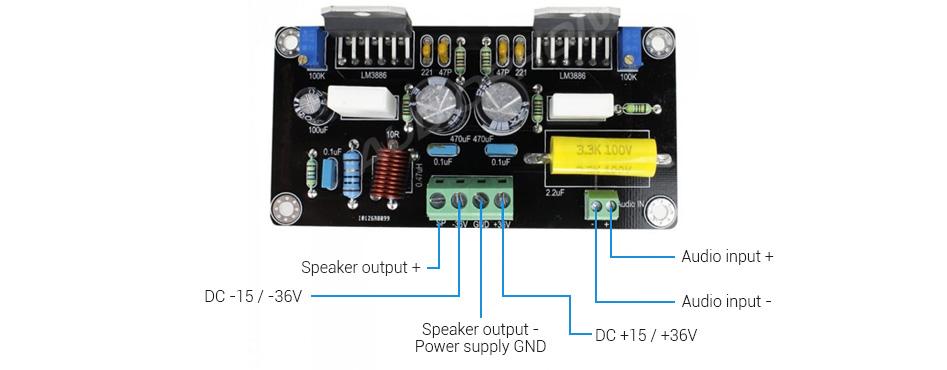Audiophonics APD85 Module Amplificateur Mono LM3886 100W / 8 Ohm