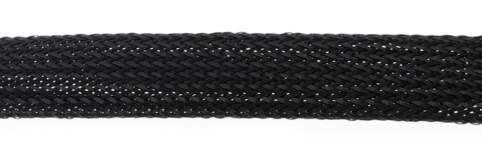Gaine tressée extensible Nylon (PET) 15-25mm Noir