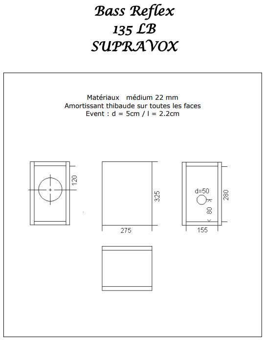 Supravox 135 LB Kit DIY Haut Parleur Bass Reflex