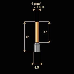 2.8mm tube diameter, 4.8mm sleeve diameter 17.5mm tube length, 27mm overall length
