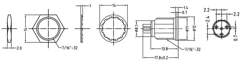 Amphenol AG4MCC Embase Mini XLR Femelle 4 Pôles