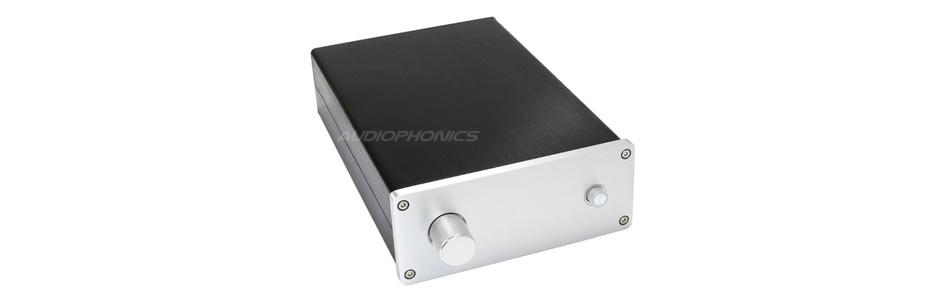 Boîtier DIY préamplificateur DAC 100% Aluminium interrupteur 250x168x54mm argent
