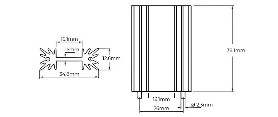 Radiateur Dissipateur Thermique Aluminium Anodisé Noir 38.1 x 35 x 12.7mm