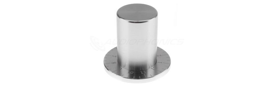 Bouton Aluminium Gradué Axe Méplat 35x33mm Ø6mm