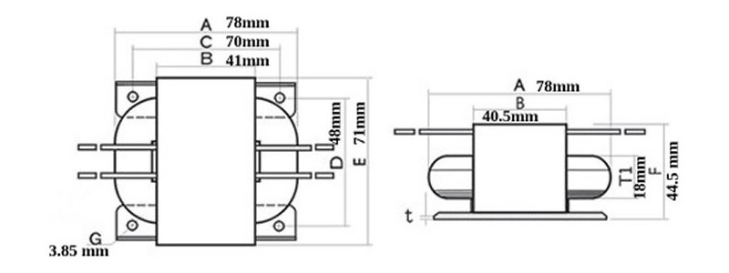r-core transformer 30va 24-0-24v