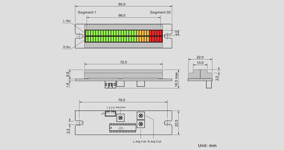 Bargraphe LED Double Colonne pour Affichage Entrée Tension