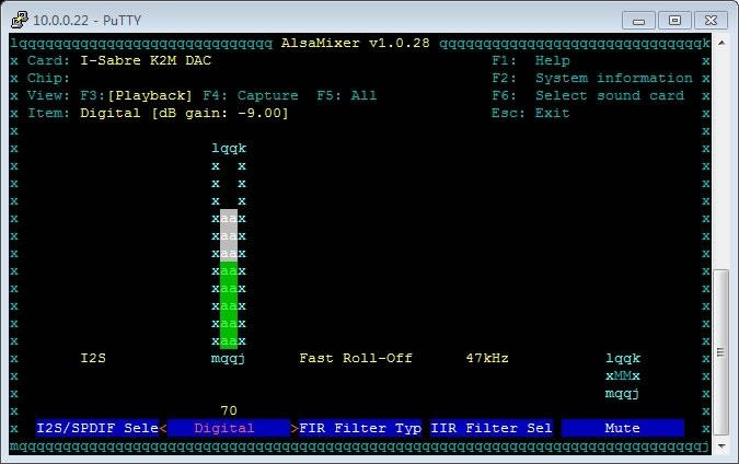 Interface de contrôle AlsaMixer sous DietPi