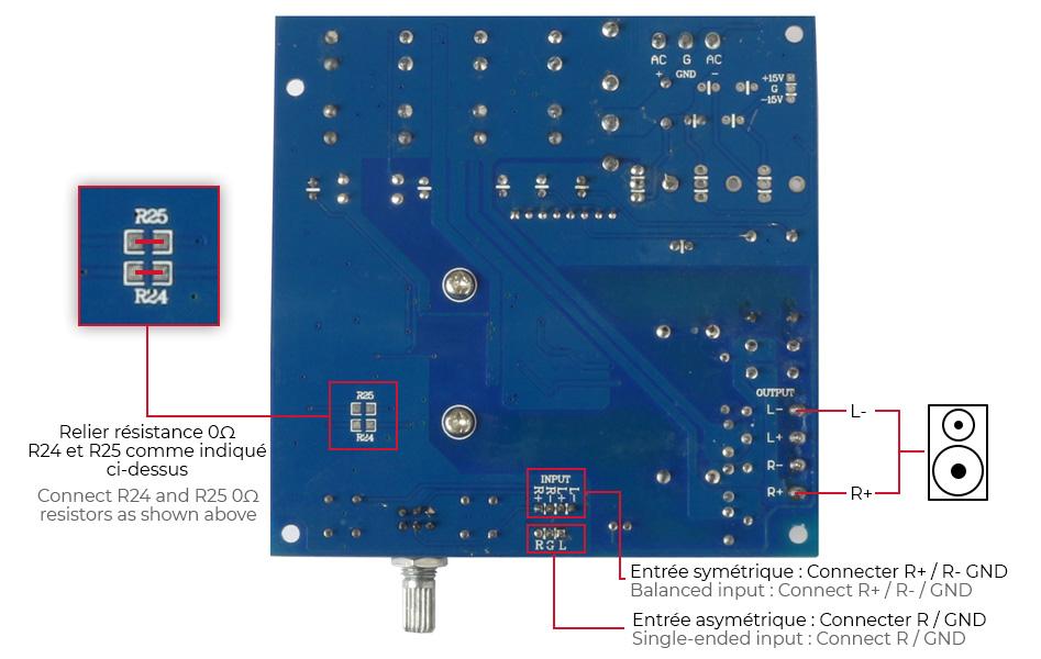 Schéma câblage BTL FX-Audio M-DIY TDA8950