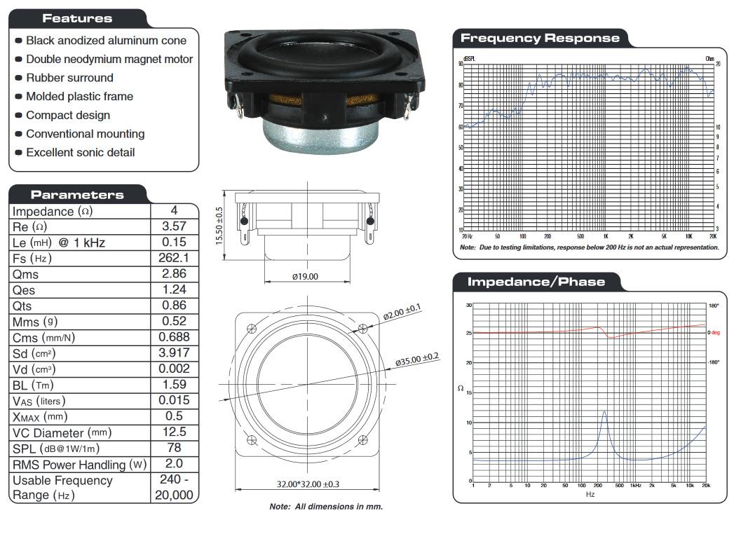 Dayton audio CE32A-4 mini haut parleur