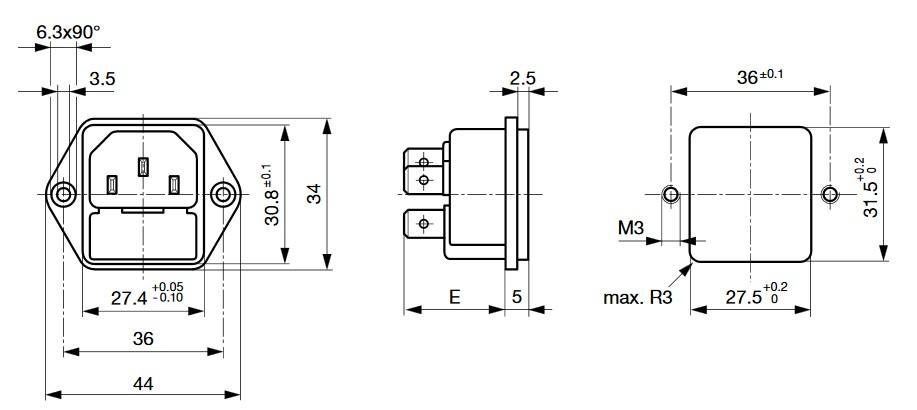 Dimensions Embase IEC porte fusible SCHURTER