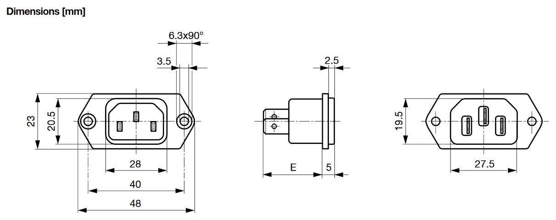 Dimensions embase IEC SCHURTER