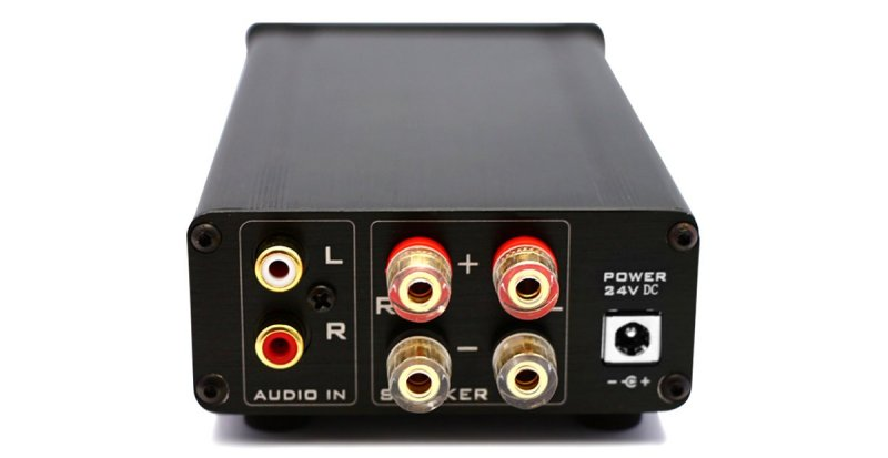 back of FX502SPRO case RCA input & speaker output