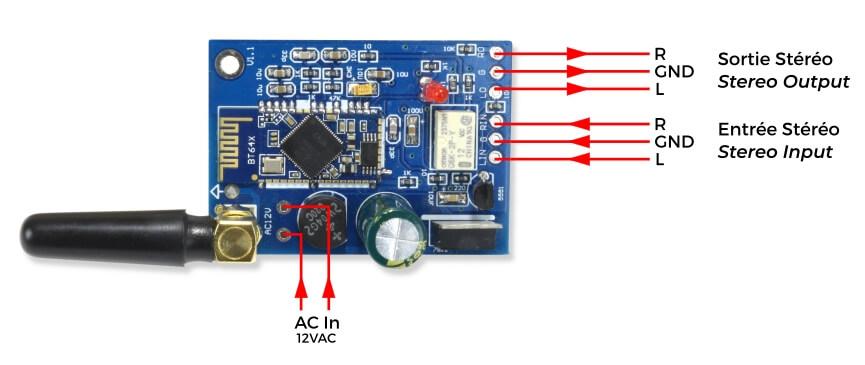 Module récepteur Bluetooth 4.2 CSR64215 aptX avec Antenne