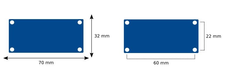 Size and spacing Bluetooth Module
