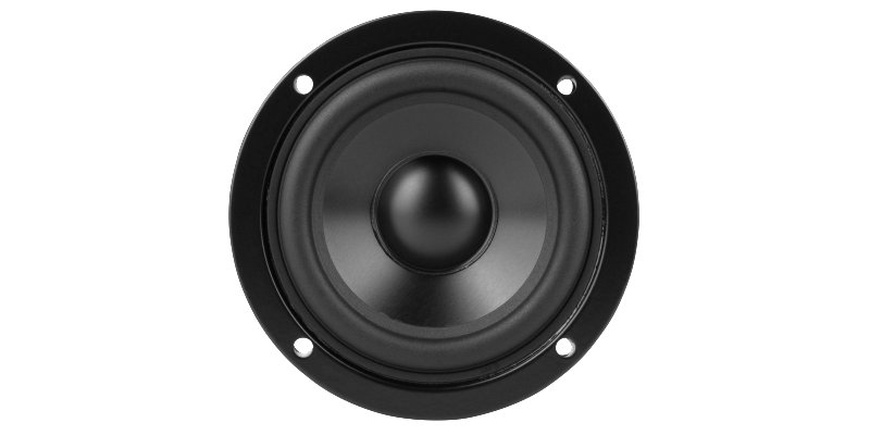 Speaker front view with rubber coating membrane and black aluminum