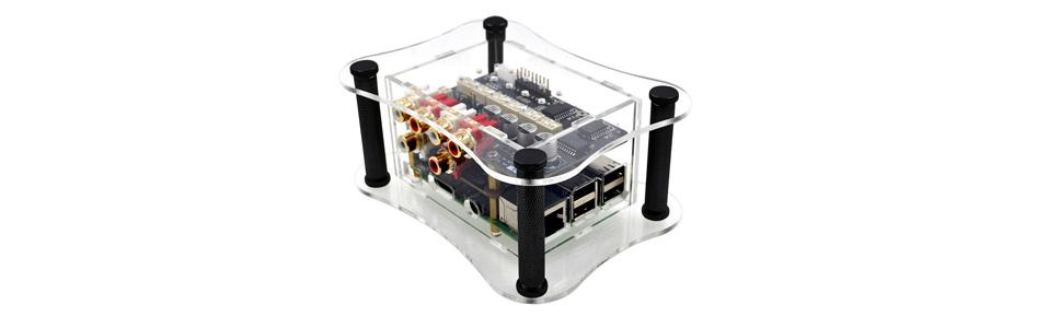 boitier acrylique pour allo boss dac, raspberry pi et allo relay attenuator