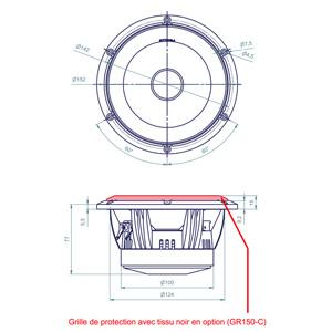 Atohm LD150CR04 Haut-Parleur Bas Médium 100W 4 Ohm Ø 15cm