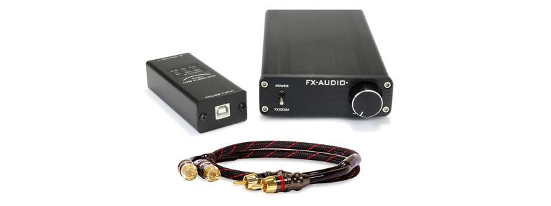 Pack FX-Audio FX1002A Amplificateur Class D 2x125W + FX01 Interface USB + Dynavox Câble RCA