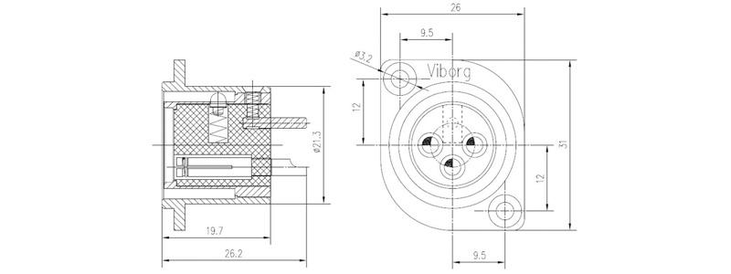 Viborg CF201(R) Embase XLR Femelle Cuivre Pur Plaqué Argent / Rhodium (Unité)