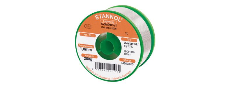 Stannol Crystal 511 Étain à Souder Sn99Cu1 250g / 1mm
