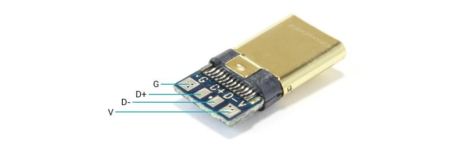 Connecteur USB-C 3.1 Mâle Plaqué Or DIY