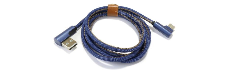 Câble USB-A Mâle vers USB-C Mâle Coudé 90° Bleu Jean 1m