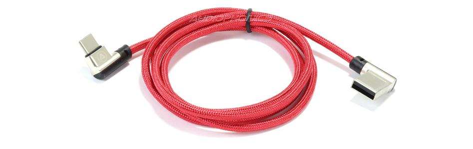 Câble USB-A Mâle vers USB-C Mâle Coudé 90° Rouge 1m