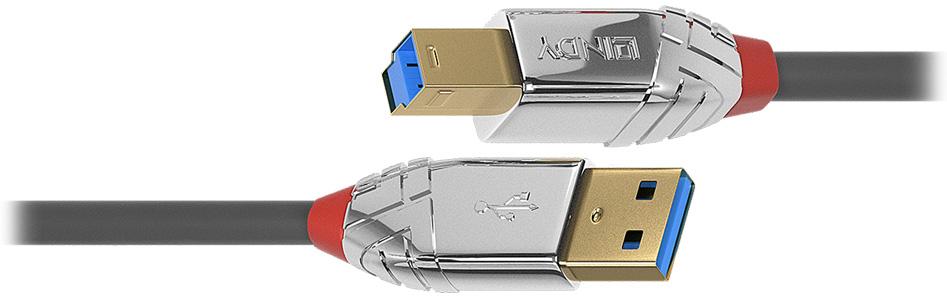 Lindy Cromo Line Câble USB-A Mâle vers USB-B Mâle 3.0 Plaqué Or 3m
