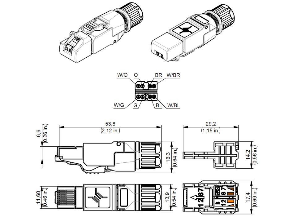 Connecteur RJ45 Ethernet Cat 8.1 High-End Métal