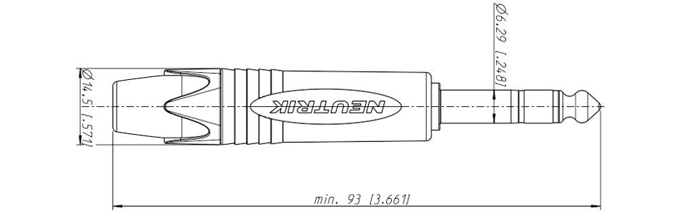 Neutrik NP3X Connecteur Jack 6.35mm Stéréo Mâle Ø9mm