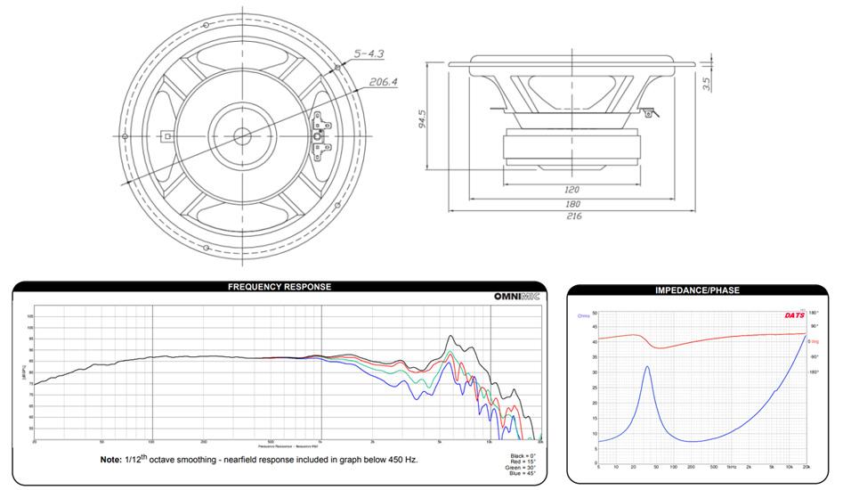 Dayton Audio DA215-8 Haut-Parleur de Grave Aluminium 60W 8Ω 89dB 35Hz-8000Hz Ø20.3cm