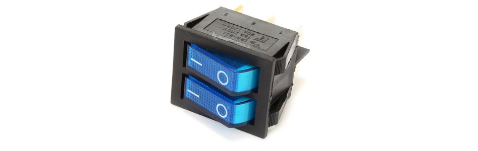 Interrupteur NO Lumineux Double 250VAC 15A Bleu