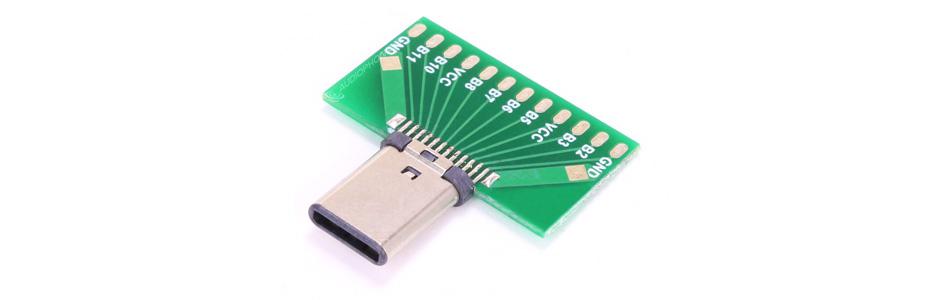 Connecteur USB-C 3.1 Mâle SMT avec PCB