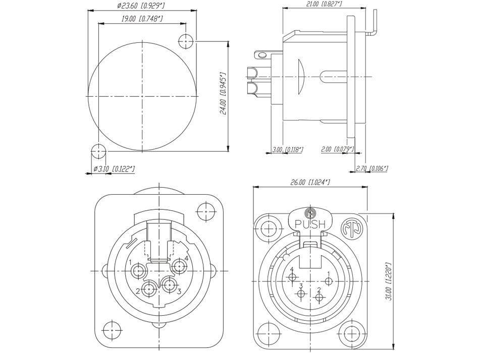 Neutrik NC4FD-L-1 Embase XLR 4 Pôles Femelle Plaqué Argent
