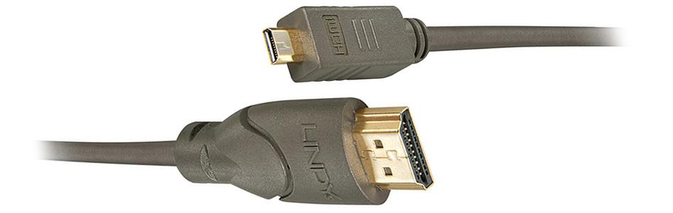 LINDY Câble HDMI vers Micro HDMI 2.0 High Speed Compatible Ultra HD 0.5m