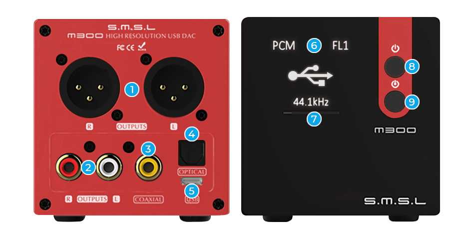 SMSL M300 DAC AKM AK4497 XMOS Double Horloge NDK 32bit 768kHz DSD512 Rouge