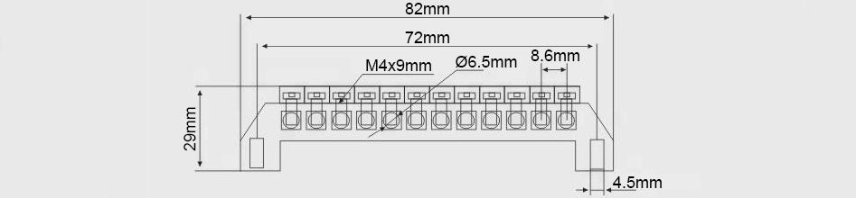 Domino isolé 7 ports Ø6.5mm