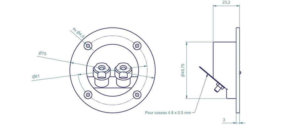 Atohm WT-D75-G Bornier Encastré pour Enceintes, Plaqué Or, Ø75mm