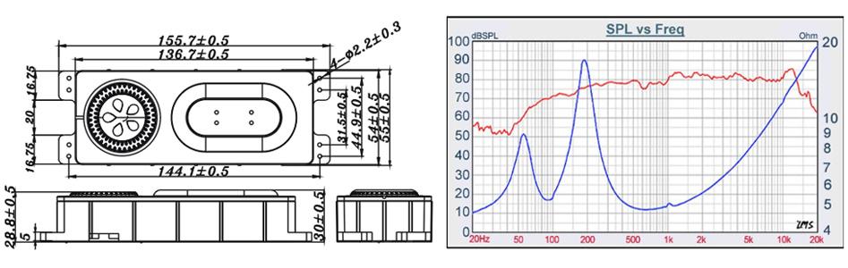 Tang-Band T1-2121SD Module Haut-Parleur Large Bande Aluminium 6W 4Ω 79dB 78Hz-20kHz