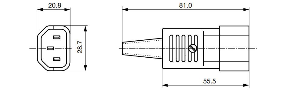 Connecteur IEC C14 Mâle pour Rallonge d'Alimentation Ø8.5mm