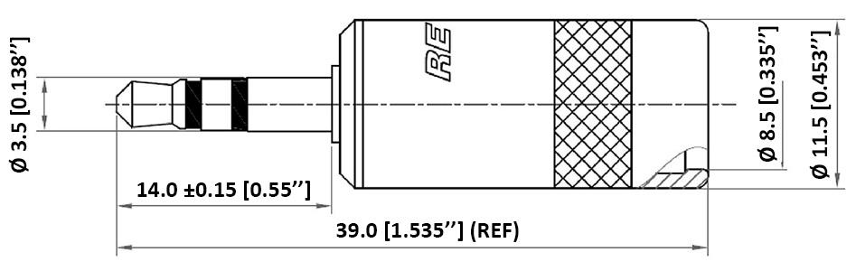 Neutrik Rean NYS231BG-LL Connecteur Jack 3.5mm Stéréo Mâle Plaqué Or Ø8mm (Unité)