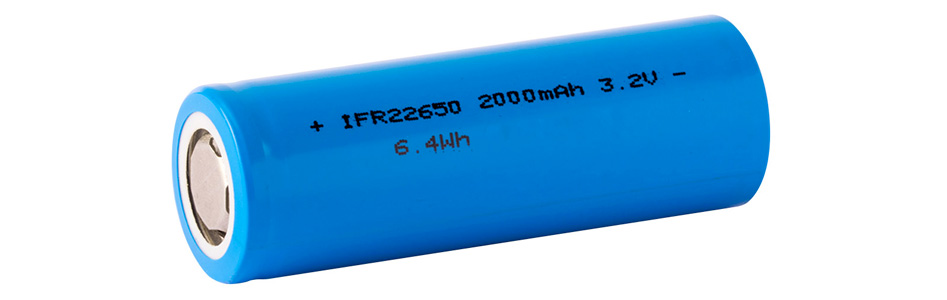 Accumulateur IFR22650 LiFePO4 3.2-3.3V 2000mAh Rechargeable