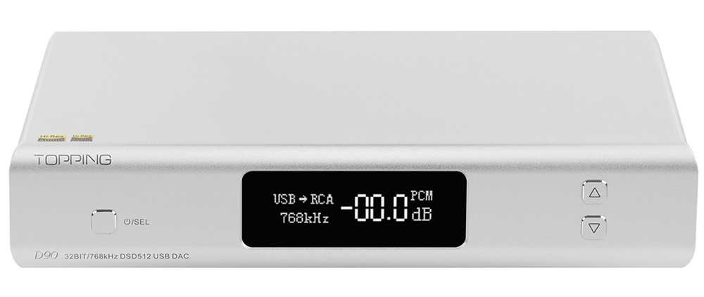 Topping D90 DAC Symétrique AK4499 XMOS XU208 I2S 32bit 768kHz DSD512 Argent