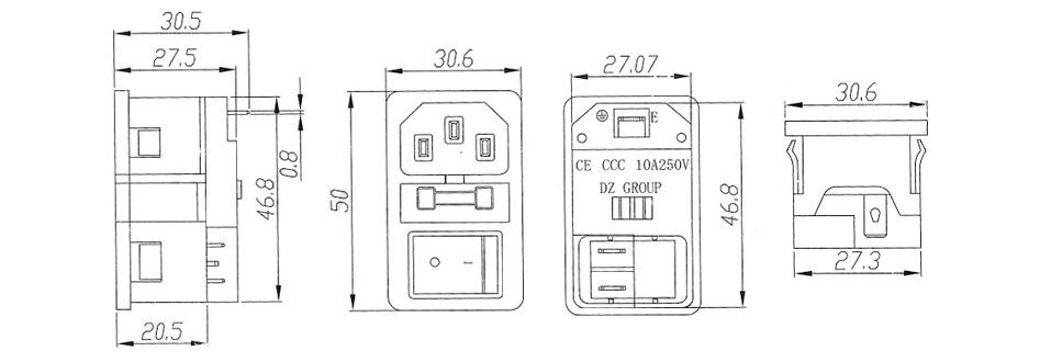 Embase IEC C14 avec interrupteur à bascule ON-OFF et fusible 250V 10A noir