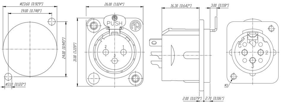Neutrik NC3FDM3-L-B-1 Embase XLR Femelle 3 Pôles Plaqué Or