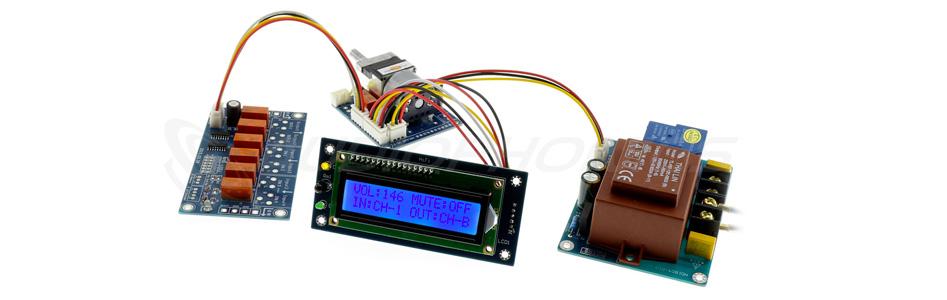 Module contrôle de volume sélecteur de source avec écran LDC et télécommande
