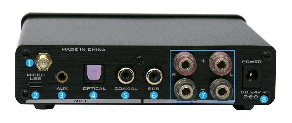FX-Audio D502BT Amplificateur FDA TAS5342A Sortie Subwoofer Bluetooth 5.0 2x40W 8 Ohm