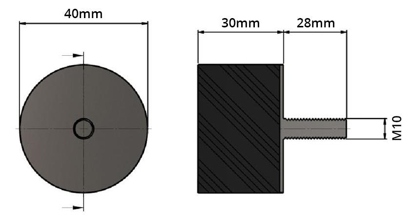 Pied Caoutchouc Amortissant 40x30mm M10 Noir (Unité)