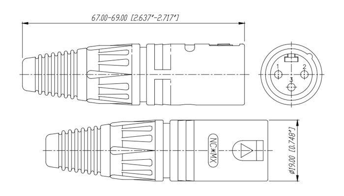 Neutrik NC3MX-BAG Connecteur XLR Mâle 3 Pôles Plaqué Argent Ø8mm (Unité)