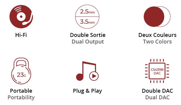 DAC Amplificateur Casque Symétrique Portable 2x CS43198 32bit 384kHz DSD256
